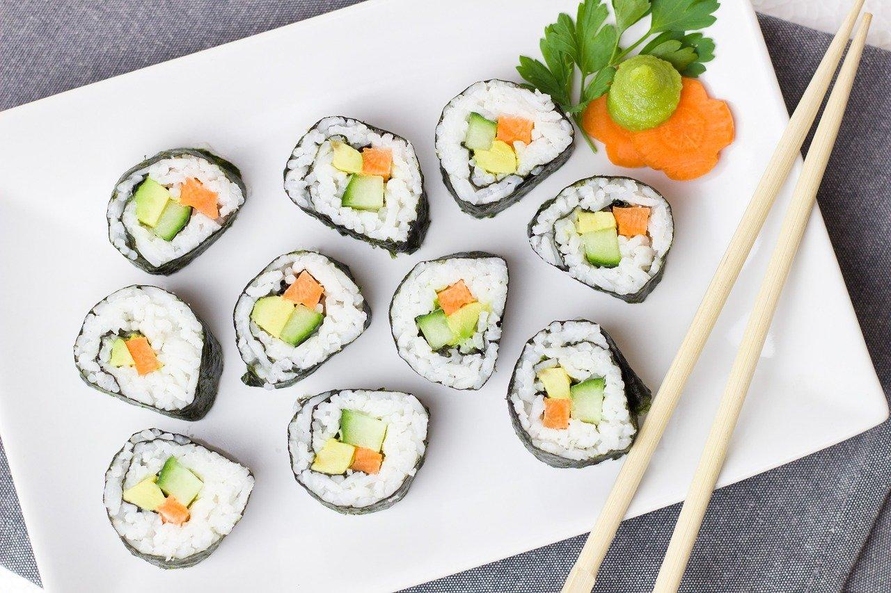 sushi, vegetarian, vegetables